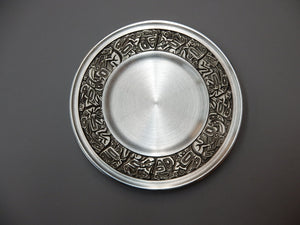 "4 1/2"" Native Panel design, pewter, presentation plate"