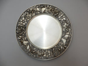 "10"" Wild Flowers of Canada design, pewter, presentation plate"