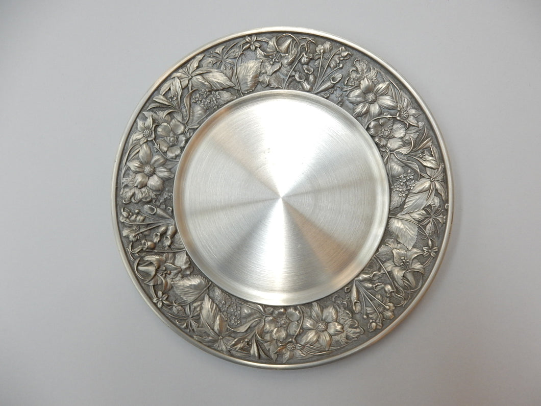 Wild Flowers of Canada design, pewter, presentation plate