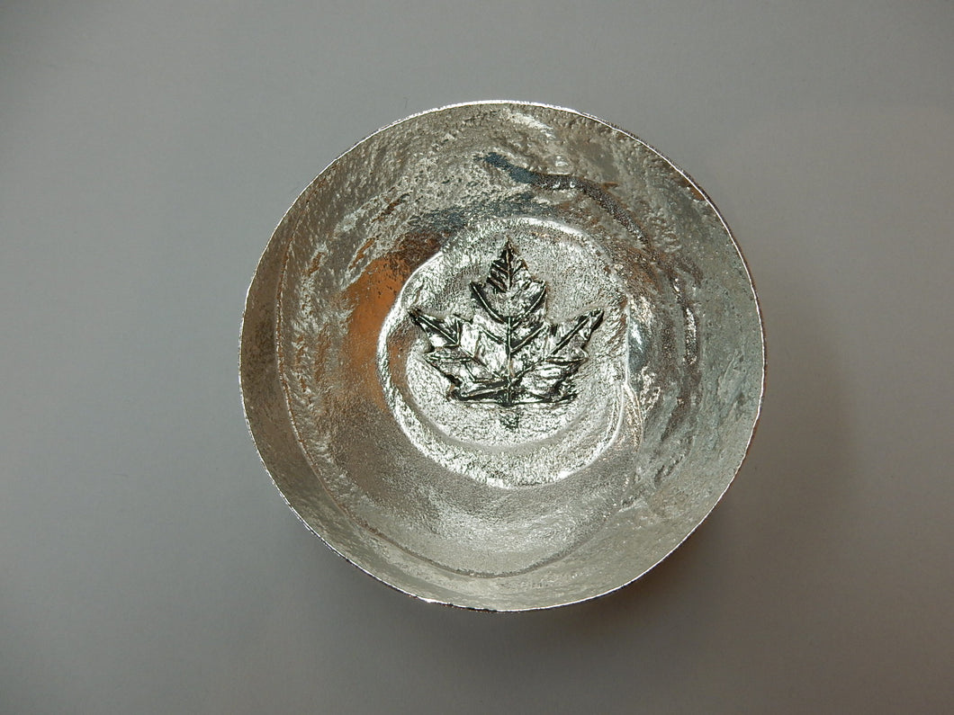 Pewter Bowl with Maple Leaf
