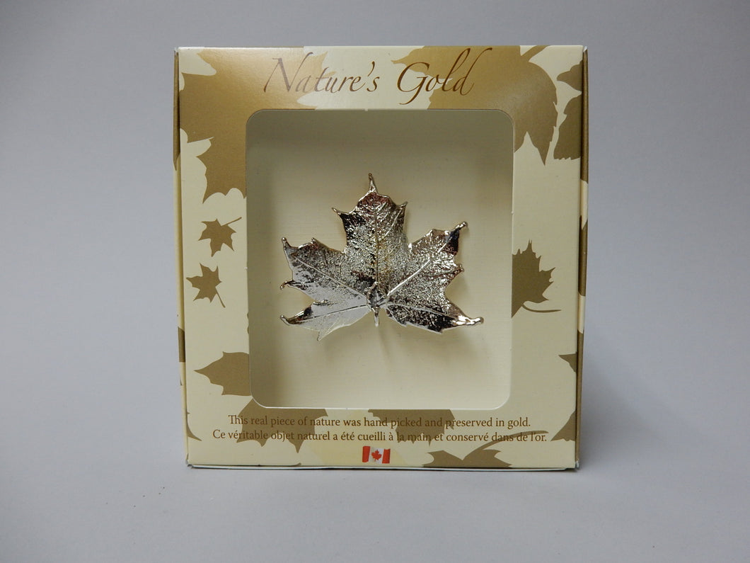 Gold Plated Maple Leaf Pin, Silver