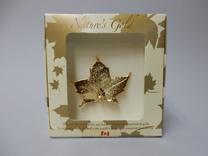 Gold plated maple leaf Pin, Gold