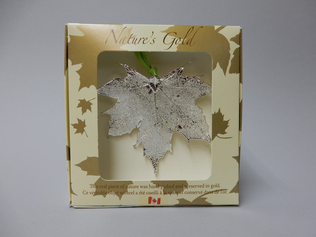 Gold Plated Maple Leaf Ornament, Silver
