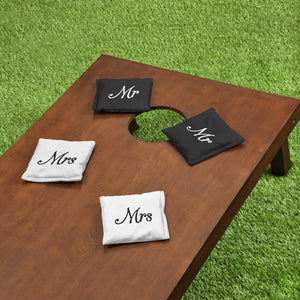 GoSports Wedding Theme Cornhole Bag Set | Includes 4 Black 'Mr' Bags and 4 White 'Mrs' Bags Cornhole playgosports.com