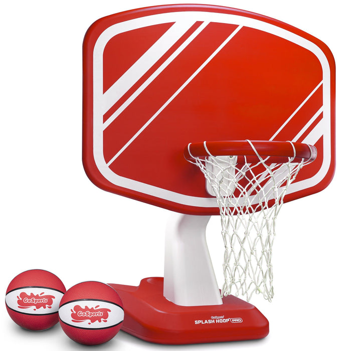 GoSports Splash Hoop PRO Poolside Basketball Game | Includes Hoop, 2 Balls and Pump, Red