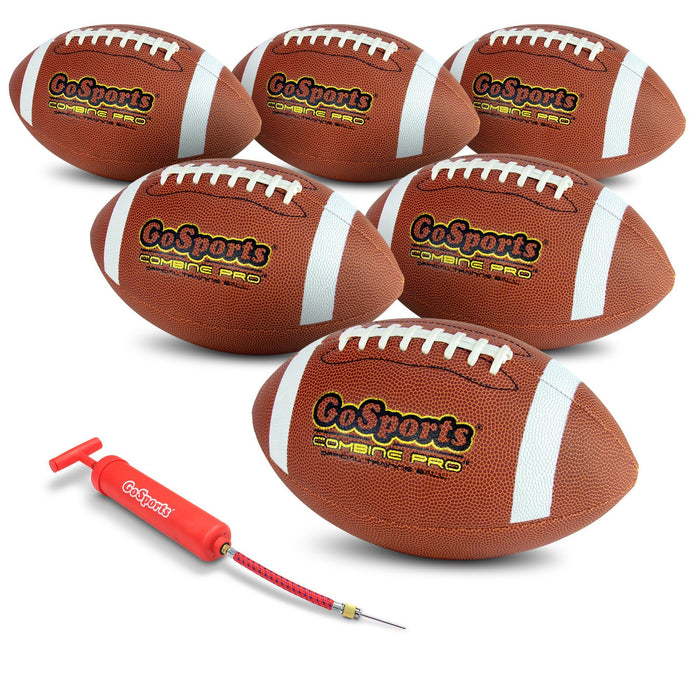 GoSports Combine Football 6 Pack | Regulation Size Official Composite Leather Balls