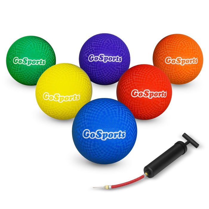 "GoSports 8.5"" Playground Ball (Set of 6) with Carry Bag and Pump"