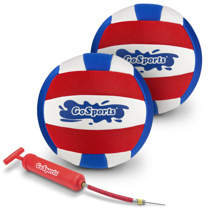 GoSports Pro Neoprene Pool Volleyball | 2 Pack Waterproof Volleyballs with Ball Pump