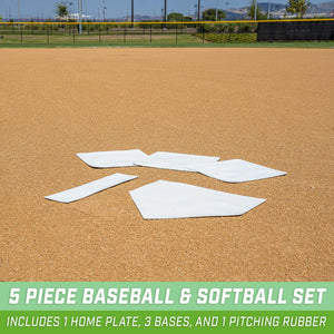 GoSports Baseball & Softball 5 Piece Base Set | Rubber Field Bases for Kids & Adults Baseball playgosports.com