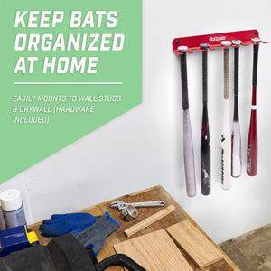GoSports Baseball & Softball Bat Caddy | Clips onto Dugout Fence or Mounts on Wall | Holds 8 Player Bats Baseball playgosports.com