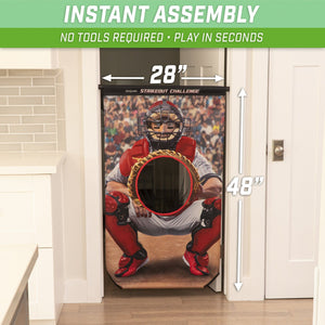 GoSports Strikeout Challenge Baseball Toss Doorway Game | Includes Universal Door Frame Tension Rod and Inflatable Baseballs with Ball Pump Baseball playgosports.com