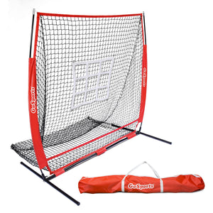 GoSports 5'x5' Baseball & Softball Practice Pitching & Fielding Net with Bow Frame, Carry Bag and Bonus Strike Zone, Great for all Skill Levels Baseball playgosports.com