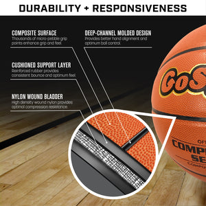 GoSports Indoor Synthetic Leather Competition Basketball with Pump - Size 6 Basketball playgosports.com