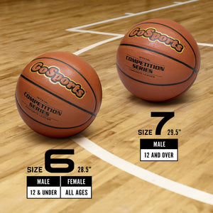 GoSports Indoor Synthetic Leather Competition Basketball 6 Pack with Pump and Carrying Bag - Size 7 Basketball playgosports.com
