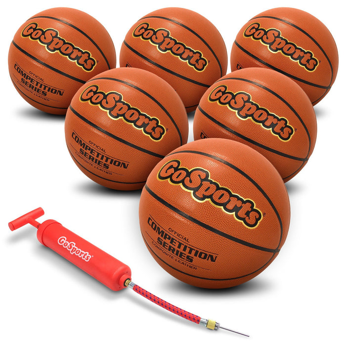 GoSports Indoor Synthetic Leather Competition Basketball 6 Pack with Pump and Carrying Bag - Size 6