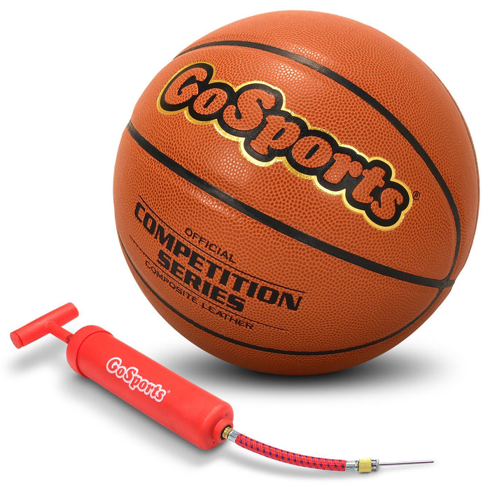 GoSports Indoor Synthetic Leather Competition Basketball with Pump - Size 6