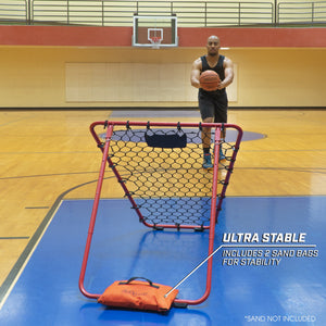 GoSports Basketball Rebounder with Adjustable Frame, Rubber Grip Feet and Sandbags | Portable Pass Back Training Aid Basketball playgosports.com