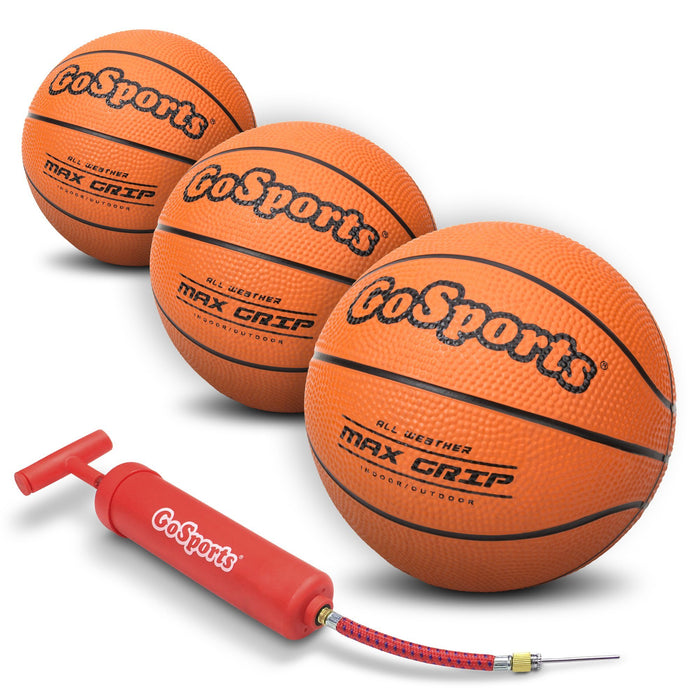 "GoSports 5"" Mini Basketball 3 Pack with Premium Pump - Perfect for Mini Hoops"