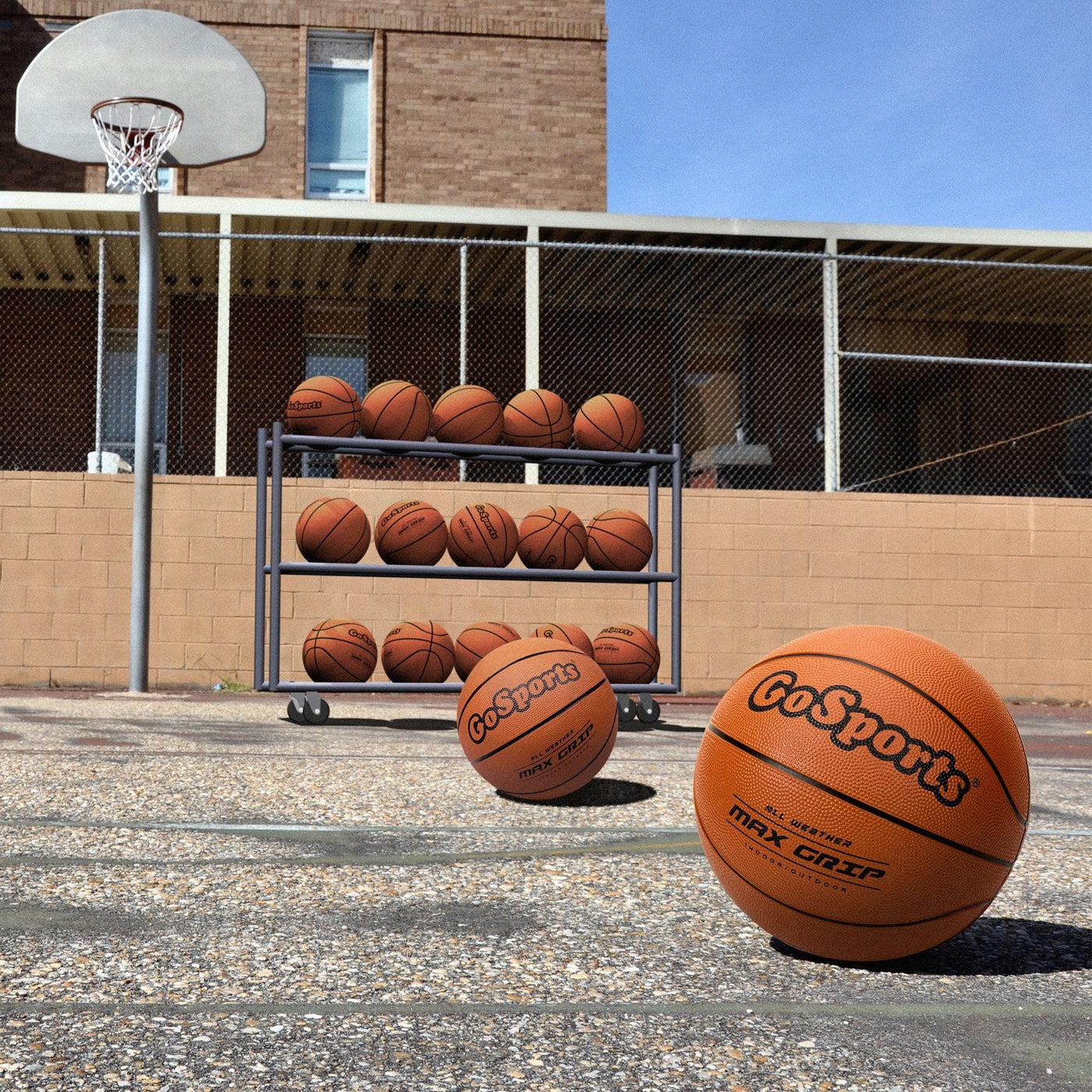 GoSports 6 Pack Indoor//Outdoor Rubber Basketball Size 7 with Pump /& Carrying Bag