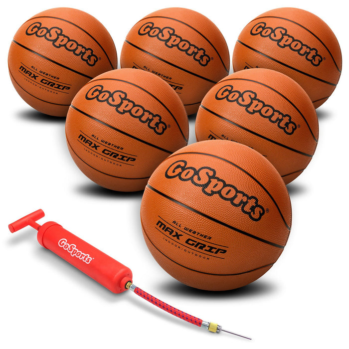 GoSports 6 Pack Indoor / Outdoor Rubber Basketball Size 7 with Pump & Carrying Bag