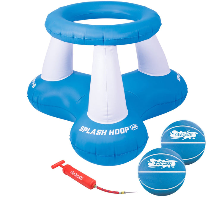 GoSports Splash Hoop Air, Inflatable Pool Basketball Game – Includes Floating Hoop, 2 Water Basketballs and Ball Pump