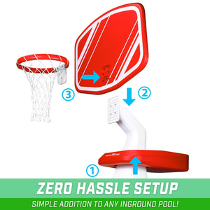 GoSports Splash Hoop PRO Poolside Basketball Game | Includes Hoop, 2 Balls and Pump, Red Pool Toy playgosports.com