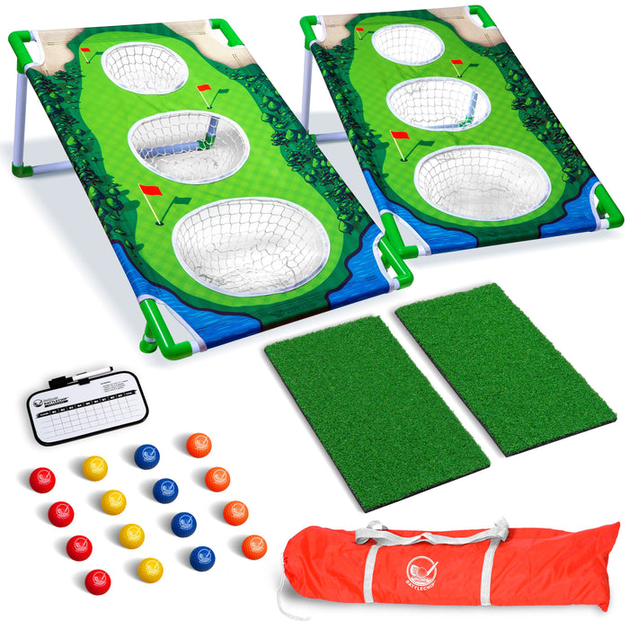 GoSports BattleChip MATCH Backyard  Golf Cornhole Game | Includes 2 Chipping Targets, 16 Foam Balls, Hitting Mat, Scorecard and Carrying Case
