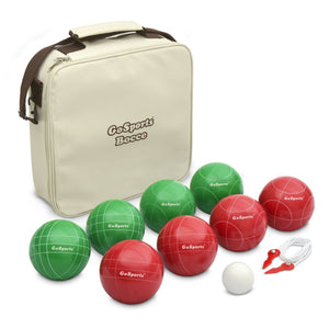 GoSports 100mm Regulation Bocce Set with 8 Balls, Pallino, Case and Measuring Rope - Premium Official Size Set Bocce playgosports.com