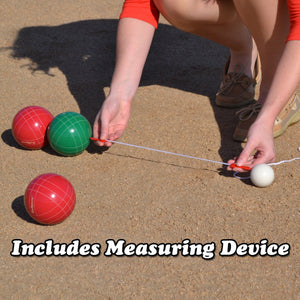 GoSports 90mm Backyard Bocce Set with 8 Balls, Pallino, Case and Measuring Rope - Made from Premium Resin Bocce playgosports.com