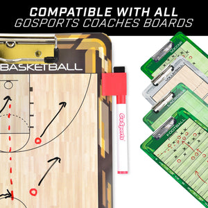 GoSports 6 Pack Coaches Board Dry Eraser Markers| Includes 4 Black Pens & 2 Red Coaches Board playgosports.com