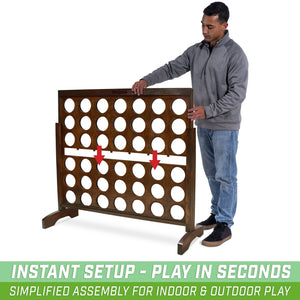 GoSports Giant Portable 4 in a Row Game Dark Wood Stain - Huge 4 Foot Width - with Rules and Carry Bag 4 in a Row playgosports.com
