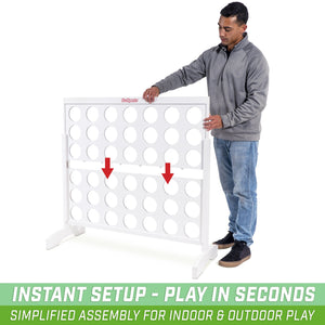 GoSports Giant Portable 4 in a Row Game Classic White Finish - Huge 4 Foot Width - with Rules and Carry Bag 4 in a Row playgosports.com