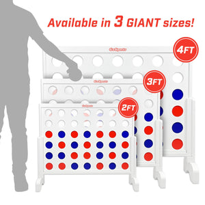 GoSports Giant 4 in a Row Game with Carrying Case - 3 foot Width - Made from Wood 4 in a Row playgosports.com
