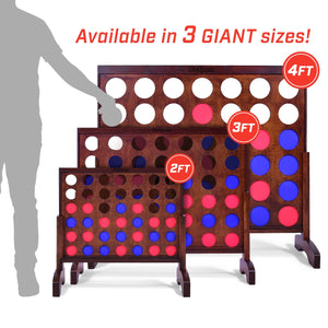 GoSports Giant Dark Wood Stain Four in a Row Backyard Game – 4 Foot Width – With Connect Coins, Portable Case and Rules 4 in a Row playgosports.com