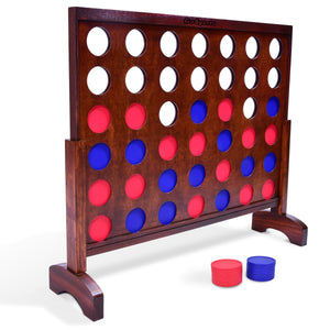 GoSports Giant Dark Wood Stain 4 in a Row Backyard Game – 3 Foot Width – With Connect Coins, Portable Case and Rules 4 in a Row playgosports.com