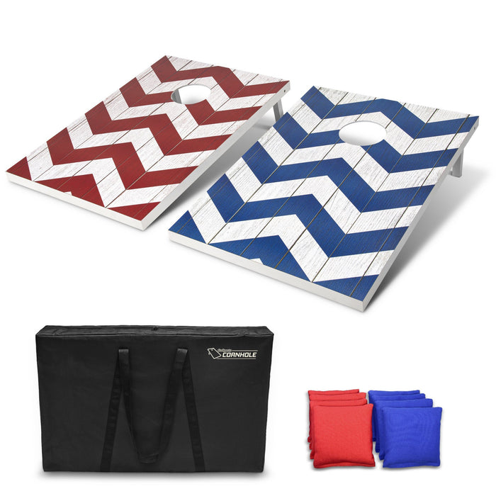 GoSports 3'x2' Chevron Design Cornhole Game Set - Includes Two 3'x2' Boards, 8 Bean Bags and Carry Case