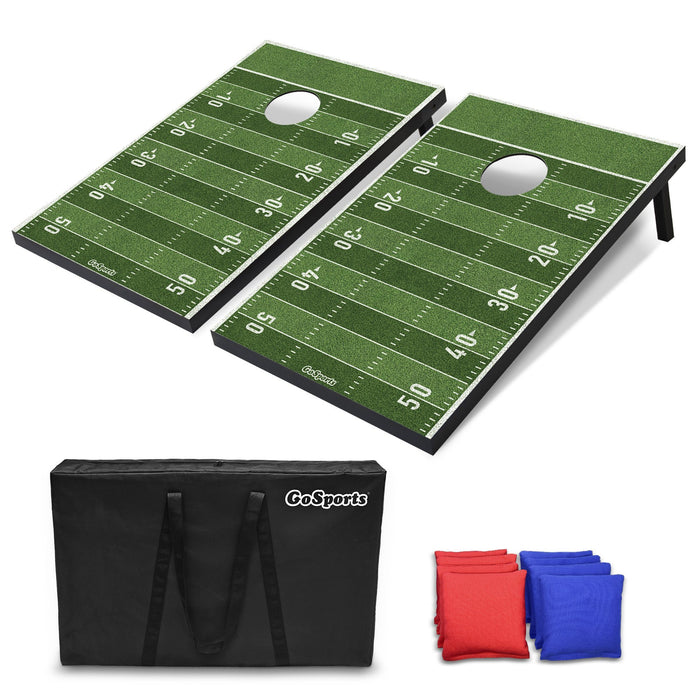 GoSports Football MDF Wood Cornhole Set - 3' x 2'