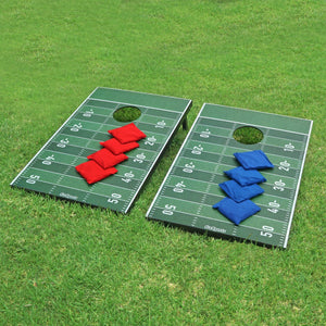 GoSports Football Cornhole Set | Customize with Your Team's Decals | Includes 2 Boards, 8 Bean Bags & Case Cornhole playgosports.com