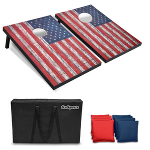 GoSports American Flag Cornhole Set with Wood Plank Design - Includes Two 3' x 2' Boards, 8 Bean Bags, Carrying Case and Game Rules Cornhole playgosports.com