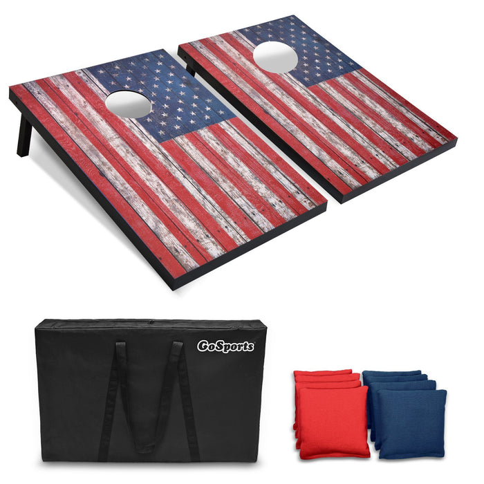 GoSports American Flag Cornhole Set with Wood Plank Design - 3' x 2' Boards
