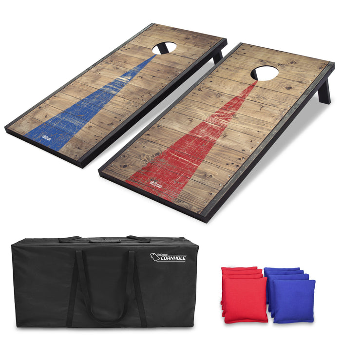 GoSports 4'x2' Classic Cornhole Set with Rustic Wood Decals | Includes 8 Bags, Carry Case and Rules