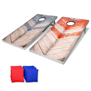 GoSports Rustic Red & Blue Design Cornhole Game Set, Regulation Size Cornhole playgosports.com
