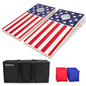 GoSports Regulation Size Solid Wood Cornhole Set - American Flag Design - Includes Two 4' x 2' Boards, 8 Bean Bags, Carrying Case and Game Rules Cornhole playgosports.com