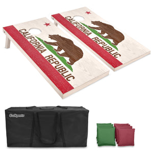 GoSports California Regulation Size Wooden Cornhole Set - California Flag Design with Bags & Case Cornhole playgosports.com