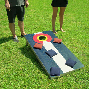 GoSports Colorado Regulation Size Solid Wood Cornhole Set - Colorado Flag - Includes Two 4' x 2' Boards, 8 Bean Bags, Carrying Case & Game Rules Cornhole playgosports.com