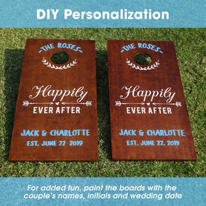 Gosports Wedding Cornhole Set | Regulation Size with Solid Stained Wood Construction Cornhole playgosports.com