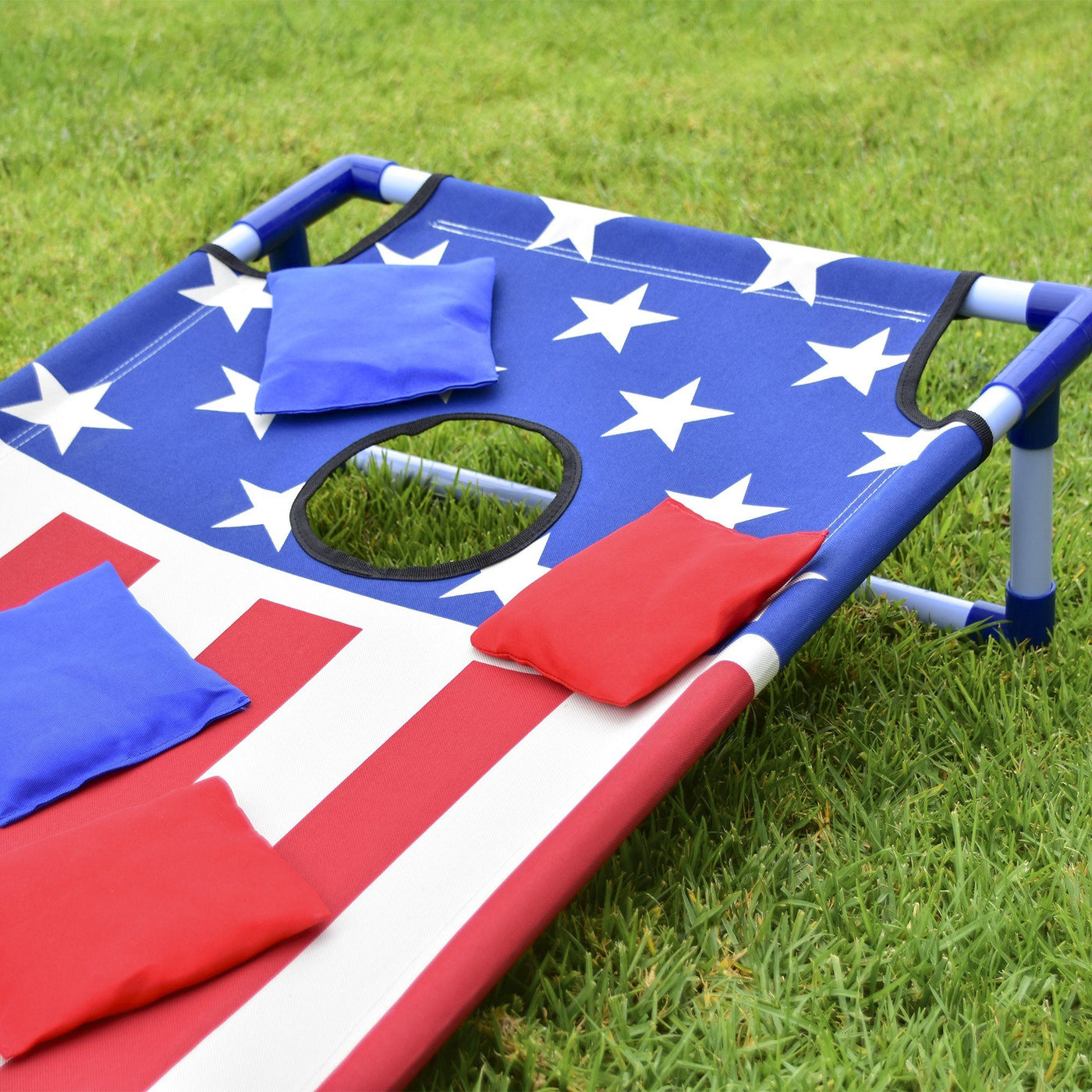 Portable PVC Framed Cornhole Game Set with Bags and Travel Carrying Case