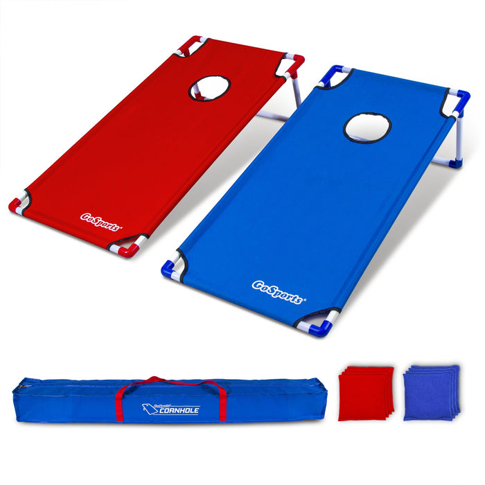 GoSports Portable 4' x 2' PVC Framed Cornhole Game Set with 8 Bean Bags and Travel Carrying Case