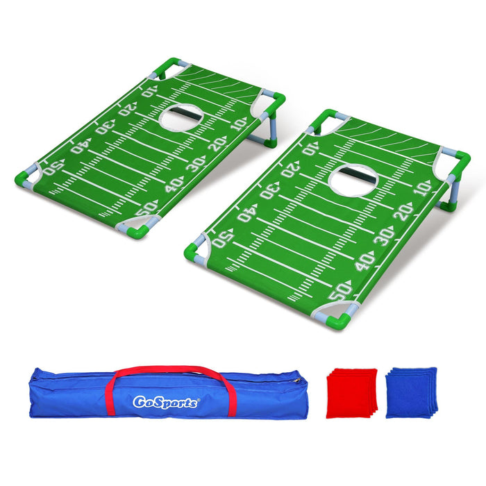 GoSports Portable PVC Framed Football Cornhole Game Set with 8 Bean Bags and Travel Carrying Case