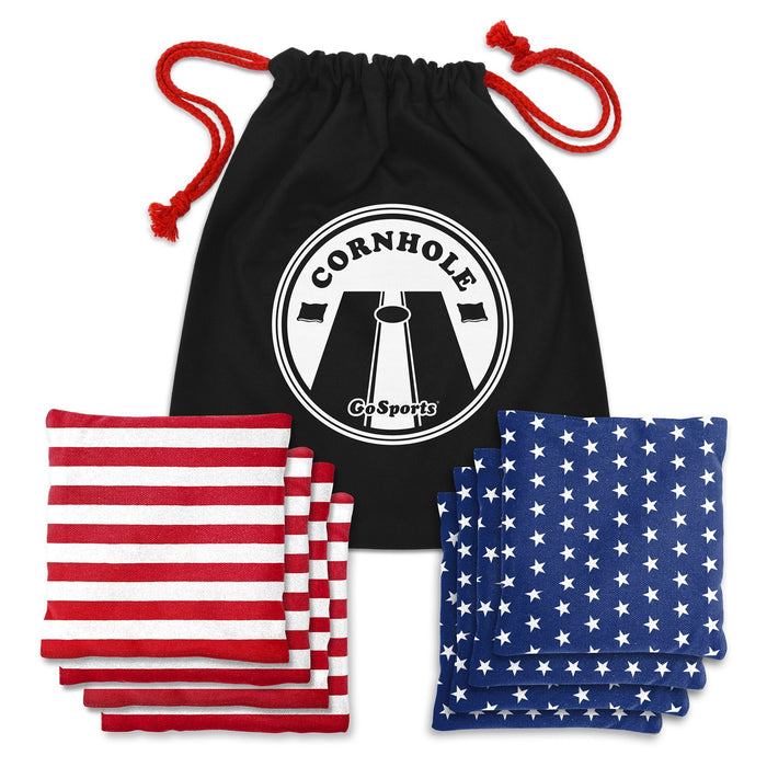 GoSports Official Regulation Cornhole Bean Bags Set (8 All Weather Bags) - America Stars and Stripes